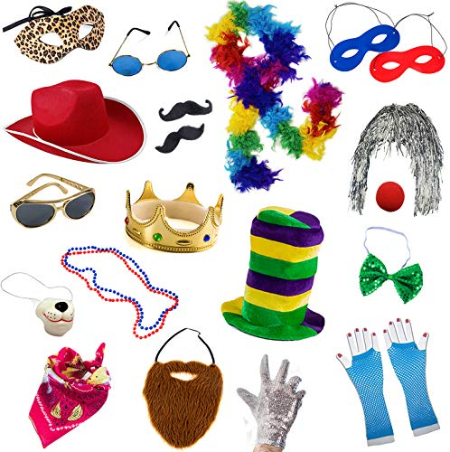 Photo Booth Props - Photo Booths for Parties - 18 Pc. Assorted Photo Booth Kit by Funny Party Hats ()