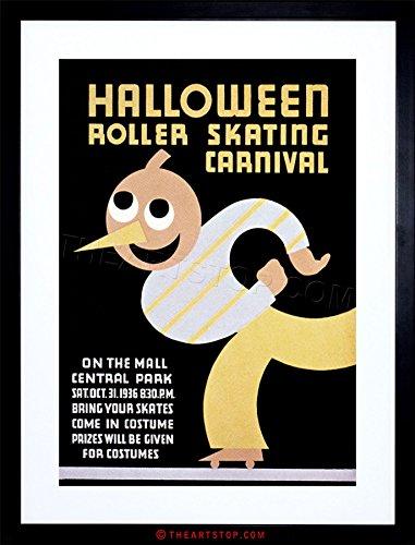 The Art Stop Sport Roller Skating Halloween Chicago USA Vintage Framed Print F97X6442