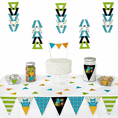 Big Dot of Happiness Monster Bash - Triangle Little Monster Birthday Party or Baby Shower Decoration Kit - 72 Piece ()