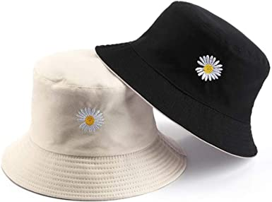 Sun Hat Cotton UV Bucket Hat Double-Sided Beach Hat Summer Travel Daisy Hat