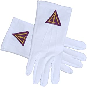 Cryptic Mason Royal Select (Right Break) - York Rite Trowel symbolism - Masonic Cotton Gloves - White (One Size Fits Most) For Freemasons Formal Wear Regalia Accessories.