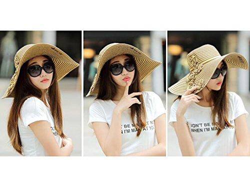 Sun Sunhat Femminile 4 Paglietta Gronda Di Grandi colore 3 Cappello Estate Anti uv t8axqSS