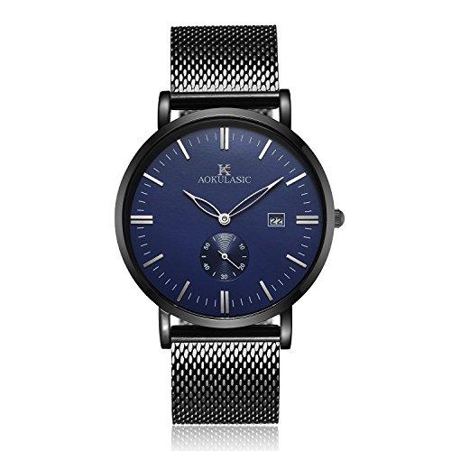Slim Dress Watch (ALIENWOLF Men's Wrist Quartz Analog Watch Dress Casual Classic Business Watches with Stainless Steel Case and Calendar Date Window, Blue-black)