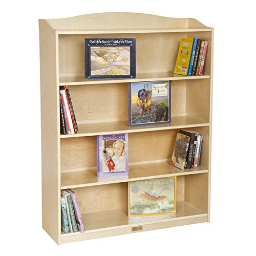 [Kids Bookshelf / Bookcase Single-Sided Natural 5-Shelf Kids Bookcase - 36 in Wide x 12 in Deep x 48 in High] (Single Wide 5 Shelf)