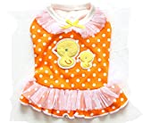 Pet Dog Puppy Cartoon Duck Dot Chiffons Skirt Dress (XS, Orange) Review