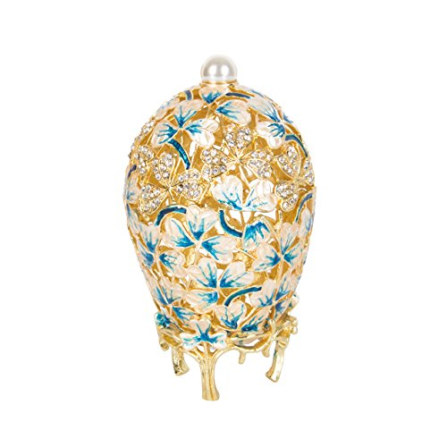 QIFU-Hand Painted Enameled Faberge Egg Style Decorative Hinged Jewelry Trinket Box Unique Gift for Home Decor ()