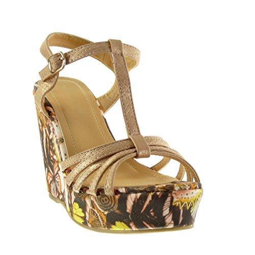 Angkorly - Chaussure Mode Sandale Mule salomés plateforme femme fleurs multi-bride Talon compensé plateforme 11.5 CM - Champagne