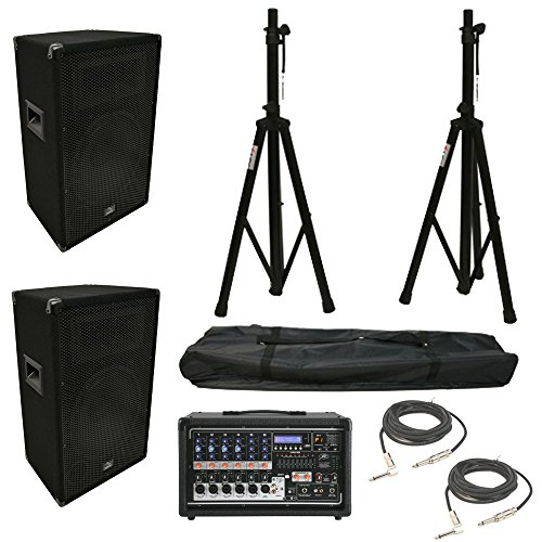 (2) Harmony HA-V12P 12'' DJ PA Speaker Peavey PV 6500 Powered Mixer Cables Stands by Harmony Audio
