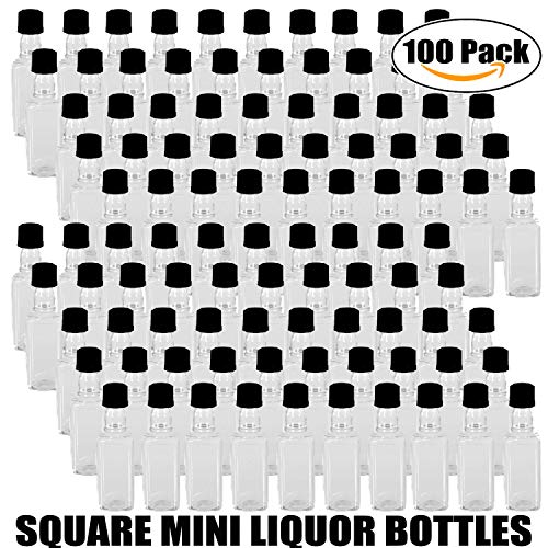 100 Mini SQUARE Plastic Alcohol 50ml Liquor Bottle Shots + Caps (100 Bulk) for party favors in Weddings, Anniversary, Events, holds BBQ Sauce Samples, Essential Oils, etc. Proudly Made in the USA! by Party Over Here (Image #2)