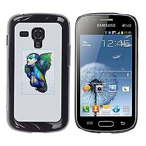 TaiTech / Prima Delgada SLIM Casa Carcasa Funda Case Bandera Cover Armor Shell PC / Aliminium - Azul mujer del guerrero - Samsung Galaxy S Duos S7562
