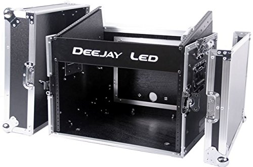 DEEJAY LED TBHM806E Fly Drive Case 8u Space Slant Mixer Rack / 6u Space Vertical Rack System with Full AC Door by Deejay LED