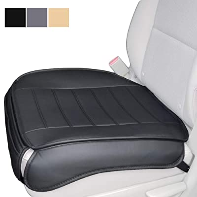 Car Seat Cushion, Edge Wrapping Car Front Seat Cushion Cover Pad Mat for Auto Supplies Office Chair with PU Leather (Black): Home & Kitchen