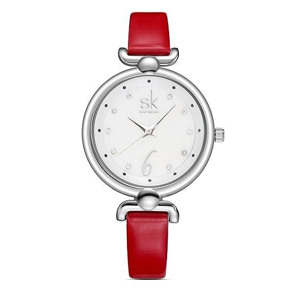 shengke mujeres reloj blanco Shell Superficie moda elegante señoras correa de cuero reloj de pulsera, relojes de lujo Lady niñas hora: Amazon.es: Relojes
