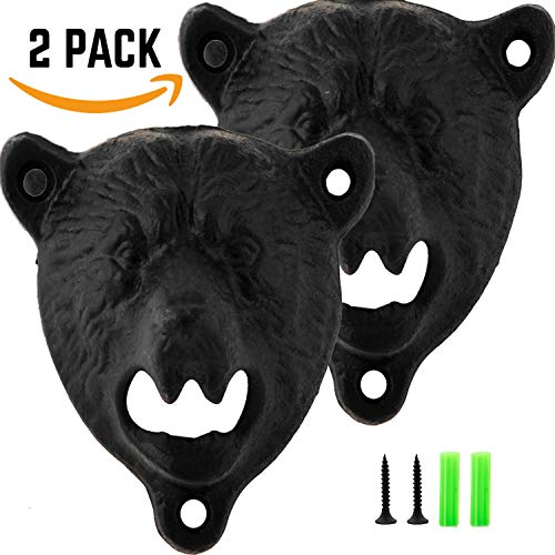 Wall Mount Bottle Opener BEAR [ 2 PACK ] Easy Mount with Free Screws, Novelty Beer Lovers Gifts for Men & Women, Christmas Gift Exchange Ideas, Birthday and Housewarming Gifts ()