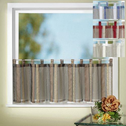 Gardinen Scheibengardine Schlaufenbistro Effektorganza mit Webstreifen, Farbe Champagner, Höhe 45cm x Breite 150cm Typ127