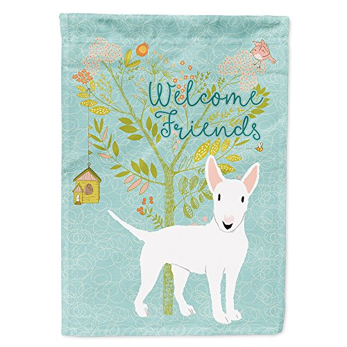 House Flag Terrier - Caroline's Treasures BB7606CHF Welcome Friends White Bull Terrier Decorative House Flag, Size, Multicolor