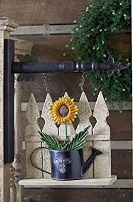 Picket Fence Arrow Replacement With Tin Sunflower In Watering Can