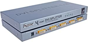 DTech DTECH 4 Way DVI Video Splitter Box Distribution Amplifier 1 in 4 out Splits 1 Video Signal into Multi Monitors Supports Cascade Connection