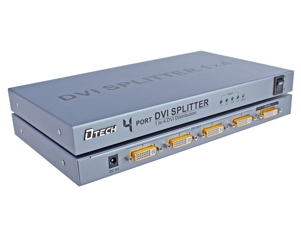 DTECH 4 Way DVI Video Splitter Box Distribution Amplifier 1 in 4 out Splits 1 Video Signal into Multi Monitors Supports Cascade Connection by DTech