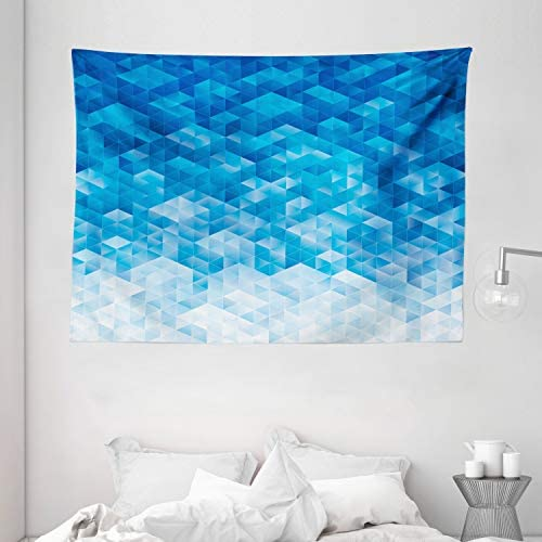 Ambesonne Geometric Tapestry, Geometric Gradient Digital Texture with Mosaic Triangle Pixel Graphic Print Art, Wide Wall Hanging for Bedroom Living Room Dorm, 80 X 60 , Light Blue