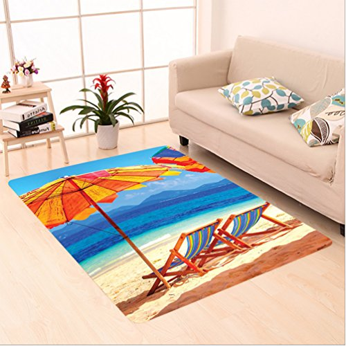 Nalahome Custom carpet Decor Deck Chairs Overlooking Tropical Sea of Thailand Beach Exotic Holiday Picture Orange Blue area rugs for Living Dining Room Bedroom Hallway Office Carpet (5' X 7')