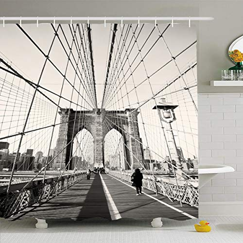 Ahawoso Shower Curtain 72x78 Inches Travel City Vintage Brooklyn Bridge New Bay York Old Skyline NYC Cityscape USA Waterproof Polyester Fabric Set with Hooks]()