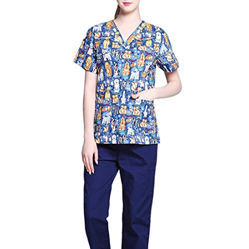 Pinji Nurse Uniform Short Sleeve Suit Surgical Gown V-neck Style Workwear Hospital Cartoon Summer Women M by Pinji (Image #1)