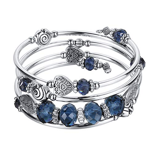 Pearl&Club Bead Crystal Wrap Bangle Bracelet - Fashion Jewelry Beaded Bracelet with Silver Metal, Gifts for Women (Navy Blue Crystal) ()