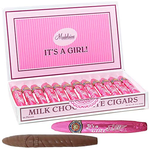 Madelaine Premium Milk Chocolate Cigars - It's a Girl Baby Shower Favors Gift Box - Individually Wrapped In Pink Italian Foils - 24 Cigars