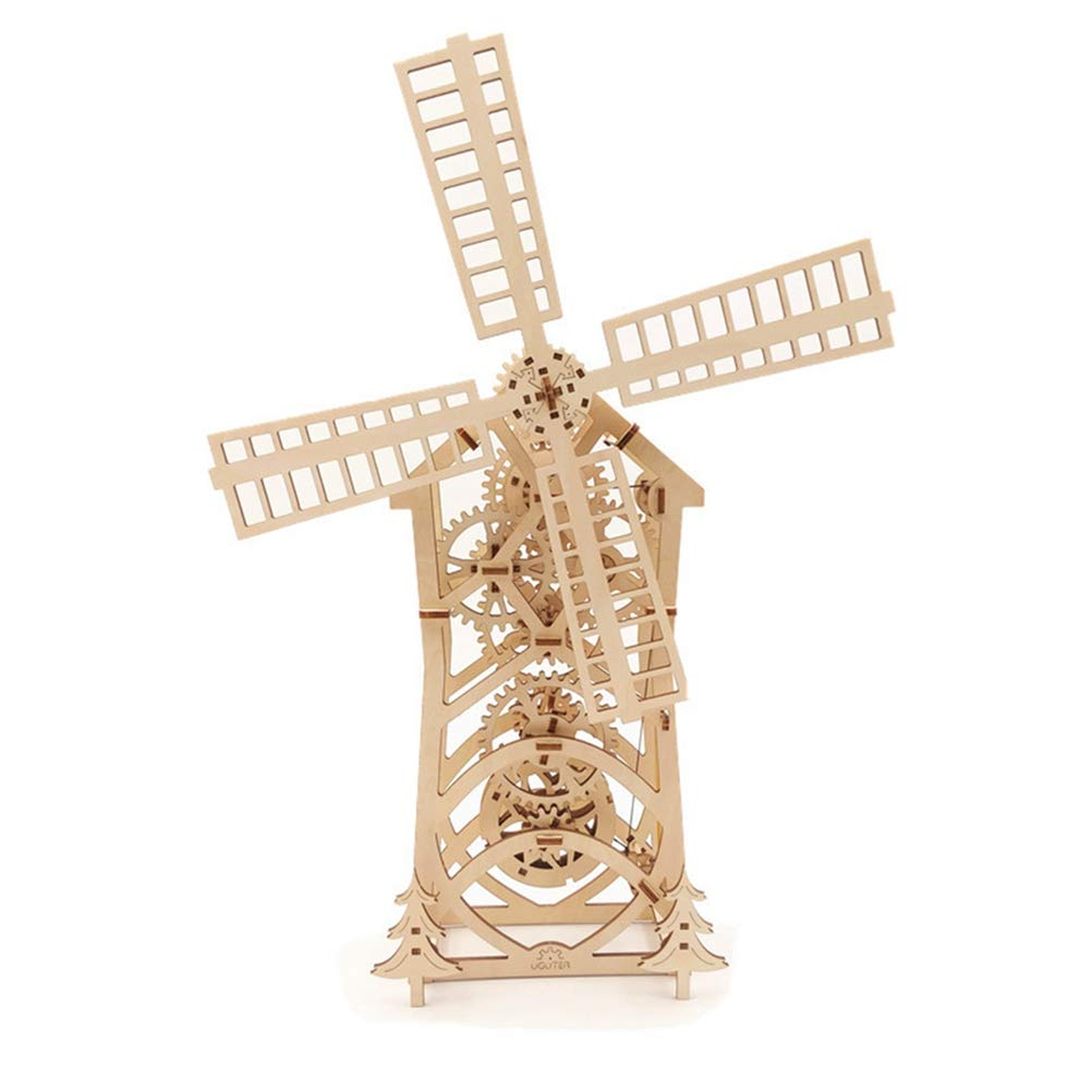 Lhcar 3D Wooden Puzzles DIY Windmill Building Mechanical Transmission Model Assembly Toy Craft Kit for Kids Adult Mechanical Enthusiast
