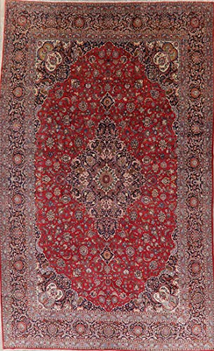 - Antique Dabir Persian Floral Area Rug Vegetable Dye Oriental Hand-Made Red 11X17