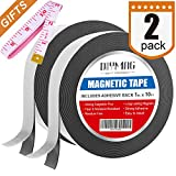 Flexible Magnetic Tape - 1 inch x 10 Feet Magnetic Strip with Strong Self Adhesive - Ideal Magnetic Roll for Craft and DIY Projects - Sticky Magnets for Fridge and Dry Erase Board, Pack of 2