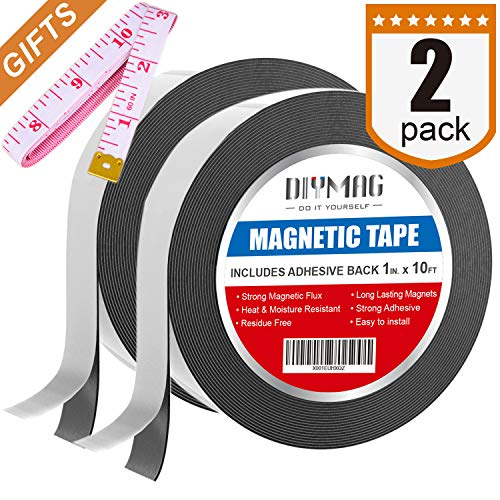 Self Adhesive Shelf Label Strips - Flexible Magnetic Tape - 1 inch x 10 Feet Magnetic Strip with Strong Self Adhesive - Ideal Magnetic Roll for Craft and DIY Projects - Sticky Magnets for Fridge and Dry Erase Board, Pack of 2
