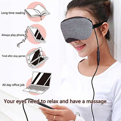 Heated Eye mask - PICOWE Cotton Eye Mask, Warming Night Massage Mask, Electric USB Heated Hot Pads, Adjustable Temperature Control, Designed to Relieve Blepharitis, Dry Eye, Stress, Tired, Puffy Eyes