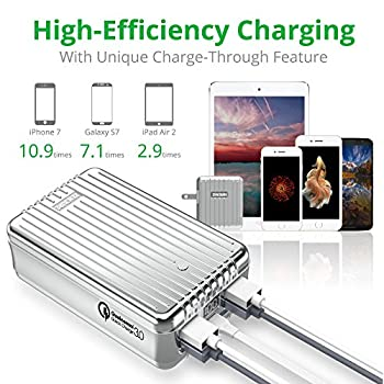 Portable Charger, Quick Charge 3.0 Zendure A8 Qc External Battery 26800mah With Qualcomm Qc 3.0 Super High Capacity Power Bank With Led Display For Samsung, Iphone Etc. (Silver) 4
