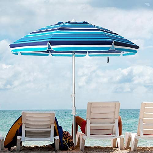 KITADIN 7.5FT Beach Umbrella Portable Outdoor Patio Sun Shelter with Sand Anchor, Fiberglass Rib, Push Button Tilt and Carry Bag Blue White