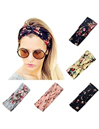 Twinfree 5 Pack Women Headband Boho Flower Style Cross Head Wrap Hair Band