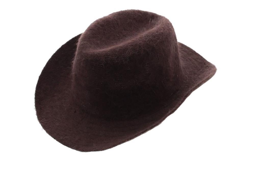 Milani Rabbit Hair Wool Blended Roll Up Brim Cowboy Style Hat Brown
