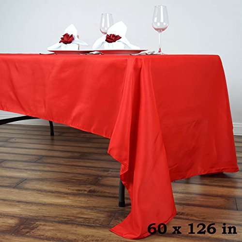 LinenTablecloth 60 x 126-Inch Rectangular Polyester Tablecloth - Linen Red