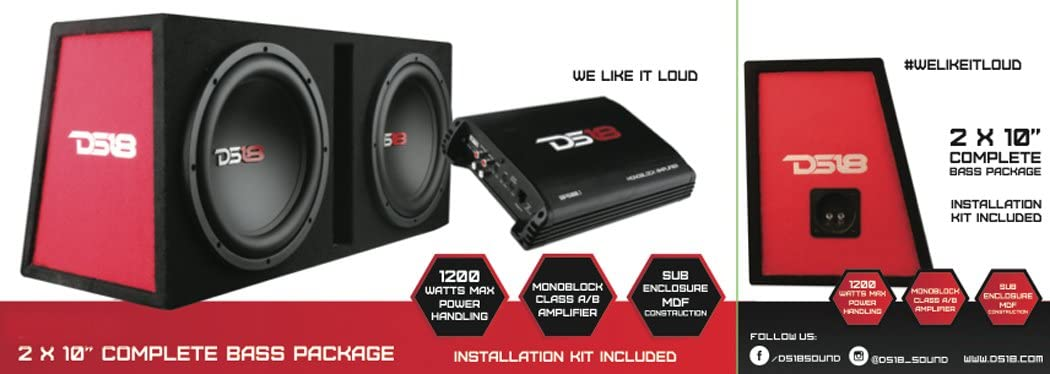 Full Installation Kit Monoblock Amplifier DS18 BP212 1300W Complete Bass Package with Two 12 Subs