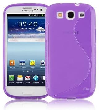 Cadorabo Carcasa Compatible con Samsung Galaxy S3/S3 Neo móvil en Lila púrpura Funda Carcasa Flexible de TPU Silicona en S Line – Carcasa de Silicona
