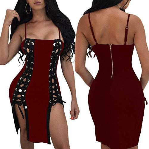 Sexy Fuweiencore Wild Aderente Donna Vestitino collo Senza Rosso Cluewear Solid large O Abiti Casual Mini Cava Bendaggio Da Rosso Moda Dimensione colore Abito Dress X Hip Maniche vqIqr6