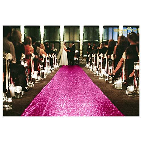 ShiDianYi Aisle Runner 2FTx15FT Hot Pink Wedding Runner Outdoor Sequin Aisle Runner Fuchsia Wedding Decorations for Ceremony ~0822S ()
