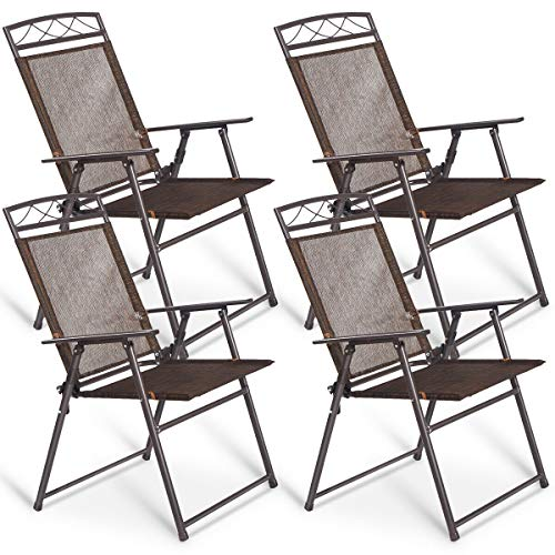 Giantex Set of 4 Patio Folding Sling Chairs Steel Camping Deck Garden Pool Backyard Chairs ()