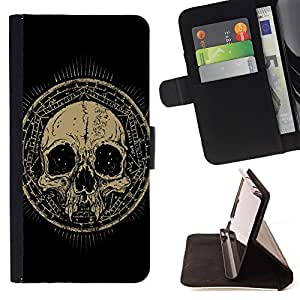 King Air - Premium PU Leather Wallet Case with Card Slots, Cash Compartment and Detachable Wrist Strap FOR HTC Desire D816 816 d816t- Skull Devil Pattern