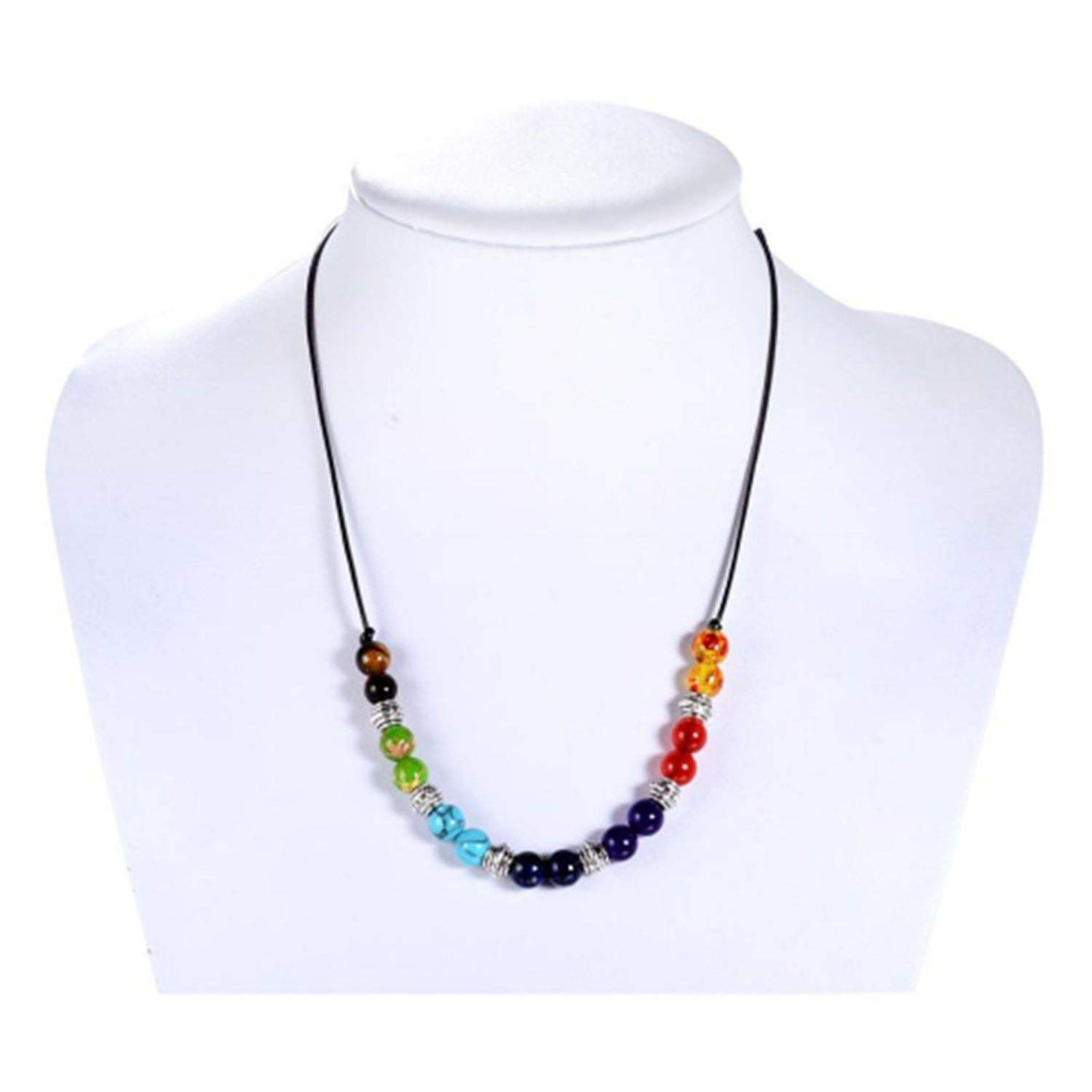 Necklace 7 Colors Beads Natural Stone Pendant Necklaces Balancing Necklace for Women Men Jewelry Gift Natural Stone