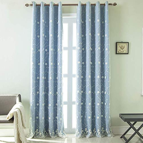WUBODTI Thermal Insulated Curtain 84 Inch Long,Blue Room Darkening Blackout Light Blocking Double Layer Mix and Match Curtain Energy Saving Drapes for Bedroom,Living Room,Patio Door