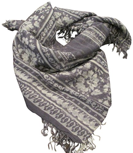 Chan Luu Lightweight Cashmere and Silk Blended Tornado Floral Stripe Wrap Scarf by Chan Luu