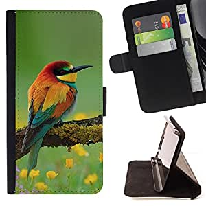BullDog Case - FOR/Samsung ALPHA G850 / - / birds floral spring nature summer beak /- Monedero de cuero de la PU Llevar cubierta de la caja con el ID Credit Card Slots Flip funda de cuer