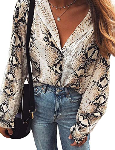 Top Snakeskin Print (DUBACH Women Snakeskin Print Long Sleeve Loose Blouse S Multicolor)